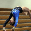 Jeff Krage – For Shaw Media<br /> Geneva's Dominique Brognia competes on the vault during Wednesday's gymnastics meet against visiting Batavia.<br /> Geneva 1/8/14