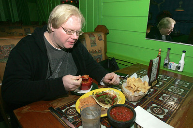 H. Rick Bamman - hbamman@shawmedia.com Pablo's Mexican Restaurant customer Adam Brandstetter (cq) enjoys the lunch express with tortella soup and fajita taco. Brandstetter has been frequiting Pablo's for 8 years. Server Sam Quinney. Bob and Debbie Tastsides of CL. Head chef Noe Garcia 18 years at Pablo's. Line cooks Carlos Cordoba (red) and Ismael Geron.  Yellow plate shrimp Enchilada mazalan red- Enchiladas Suizas