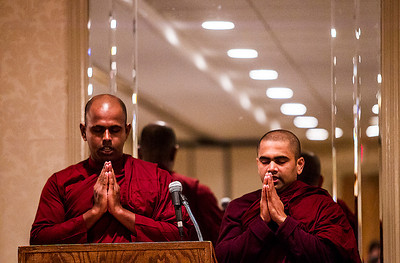 "Kyle Grillot - kgrillot@shawmedia.com   Bhante Sumana (left) and Bhante Somananda of the Blue Lotus Buddhist Temple lead a closing meditation during the Fifth Annual Interfaith Prayer Breakfast celebrating the life and legacy of Dr. Martin Luther King, Jr. Monday in Crystal Lake. The theme for this year's event is ""My Dream for the World."""