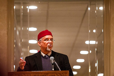 "Kyle Grillot - kgrillot@shawmedia.com   Imam Plemon T. El-Amin gives a speech during the Fifth Annual Interfaith Prayer Breakfast Monday in Crystal Lake.  The Imam grew up close to relatives of Martin Luther King, Jr., and spoke of celebrating his life and legacy, as well as the civil rights movement and it's world perspective. The theme for this year's event is ""My Dream for the World."""