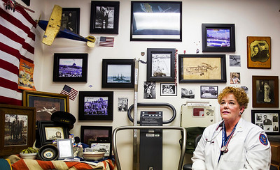 """Kyle Grillot - kgrillot@shawmedia.com   Missy Robel, an employee at the James A. Lovell Federal Health Care Center, works to help veterans in the region. """"I give them honor and respect,"""" Robel said, """"That's something you can't get in a pill."""""""