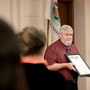 Batavia resident John Carr receives a proclamation naming him Illinois Veteran of the Month during a ceremony in his honor at the Kane County Government Center in Geneva Wednesday morning. Carr, who joined the Army in 1969, began working for the Veterans Assistance Commission of Kane County as a hospital caseworker in 1974.