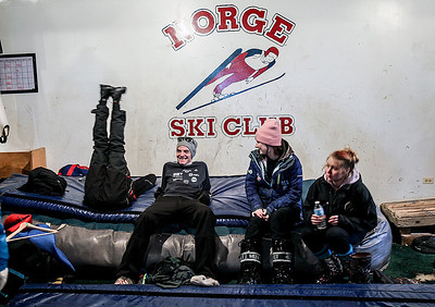 Sarah Nader- snader@shawmedia.com Ski jumpers rest before participating in the 109th Norge Ski Jump Tournament at the Norge Ski Club in Fox River Grove Saturday January 25, 2014. The tournament continues through Sunday.