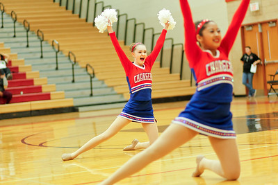 Ruthie Hauge - For Shaw Media Dundee-Crown High School varsity Poms, Taylor Brown (jr.) and Caitlin Tolentino (fr.) perform their dance routine during the IHSA Competitive Dance Regional at Huntley High School on Saturday, January 25, 2014.