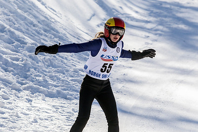 Sarah Nader- snader@shawmedia.com Kailey Bickner of the Norge Ski Club comes down the hill during the 109th Norge Ski Jump Tournament  held at the Norge Ski Club in Fox River Grove Saturday January 25, 2014. The tournament continues through Sunday.