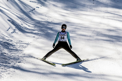 Sarah Nader- snader@shawmedia.com Mollie Immens of the Norge Ski Club comes down the hill during the109th Norge Ski Jump Tournament  held at the Norge Ski Club in Fox River Grove Saturday January 25, 2014. The tournament continues through Sunday.