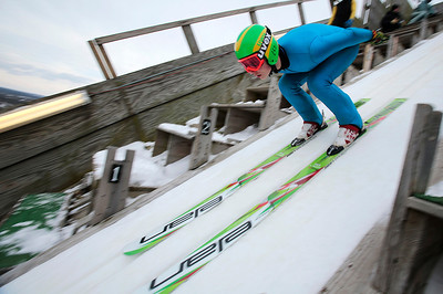 Kyle Grillot - kgrillot@shawmedia.com   Nate Matoon of the Flying Eagles Ski Club skis down the 150-foot tower during the 109th Norge Ski Jump Tournament held at the Norge Ski Club in Fox River Grove Sunday January 26, 2014.