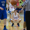Marmion's Michael Sheehan (10) looks up after being fouled by St. Francis' Kilian Brown (42) at Marmion High School in Aurora , IL on Friday, January 24, 2014 (Sean King for Shaw Media)