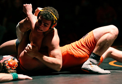 Jacobs' Loren Strickland works to pin Jake Leske in the second period of their 182-lb match during their dual wrestling meet at McHenry High School East on Wednesday, January 12, 2017 in McHenry, Ill. Strickland defeated Leske. John Konstantaras photo for the Northwest Herald