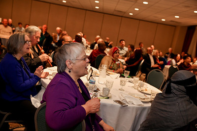 "Michelle LaVigne-For Shaw Media Attendees of the 7th Annual Dr. Martin Luther King, Jr. Interfaith Prayer Breakfast held at D'Andrea Banquets in Crystal Lake, January 16th 2017 join in singing the song ""All Are Welcome Here."""