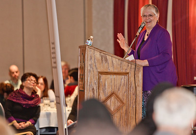 Michelle LaVigne-For Shaw Media Keynote speaker Phyllis Unterschuetz, co-founder and president of the Race Story ReWrite Project, addresses the attendees during the 7th Annual Dr. Martin Luther King, Jr. Interfaith Prayer Breakfast held at D'Andrea Banquets in Crystal Lake, January 16th 2017. Unterschuetz's speech was titled Honestly Confronting Racism and addressed the issues of race in communities and within individuals themselves.