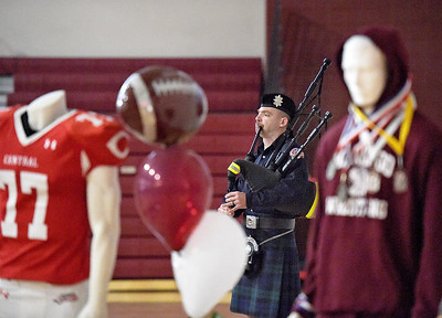 Kayla Wolf - For Shaw Media A bagpipe player ends the celebration of life ceremony for Derek Caskey at Marengo Community High School on January 29, 2017. Derek Caskey, age 20, died on January, 17, 2017 after a battle with cancer.