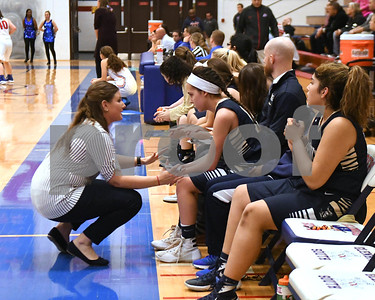 IC Catholic Prep head coach Kelsey James talks to her team during their game against Glenbard South Jan. 20 in Glen Ellyn. David Toney for Shaw Media