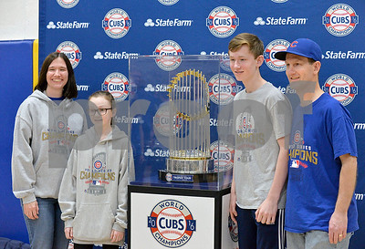 The Chicago Cubs World Series trophy visited the Western Springs Recreation Center as part of its tour through the area.