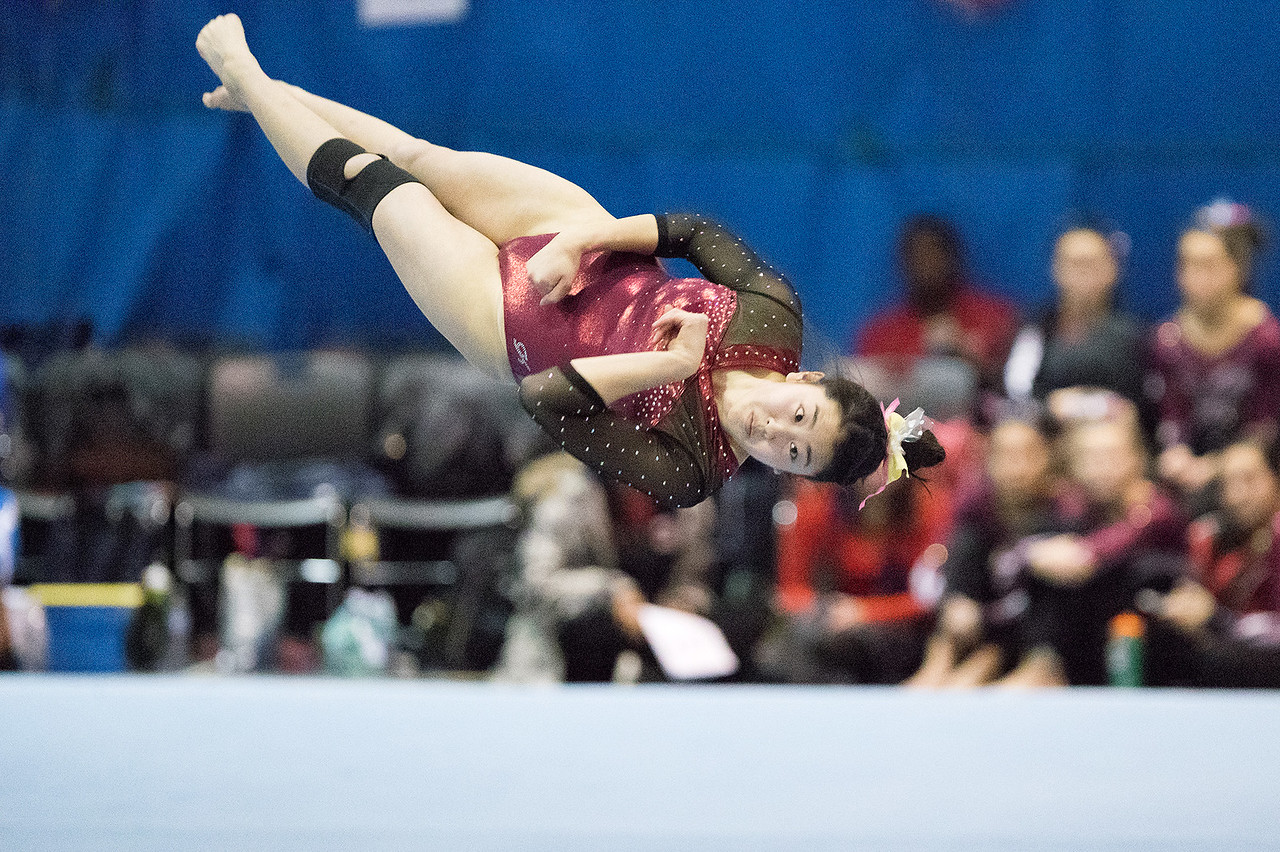 Whitney Rupp - for Shaw Media Prairie Ridge junior Maddy Kim performs on floor exercise at the Lake Forest Invitational Jan. 6.