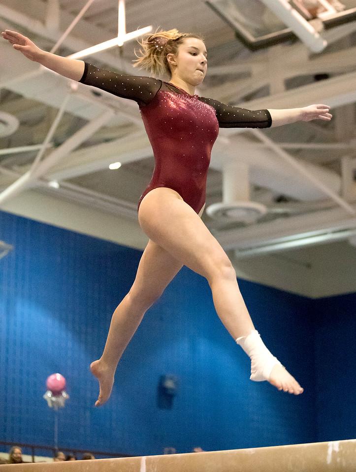 Whitney Rupp - for Shaw Media Prairie Ridge senior Kat Shaffer leaps during her balance beam routine at the Lake Forest Straus Invitational Jan. 6.