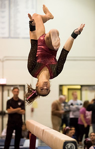 Whitney Rupp - for Shaw Media Prairie Ridge junior Kira Karlblom performs a balance beam routine at the Lake Forest Straus Invitational Jan. 6.