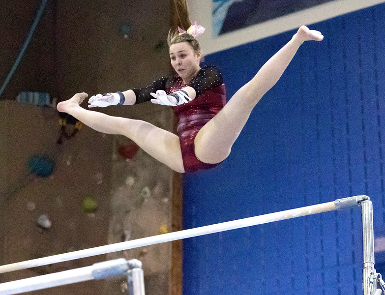 Whitney Rupp - for Shaw Media Prairie Ridge junior Ciara Ryan performs on the uneven bars at the Lake Forest Straus Invitational Jan. 6. Ryan scored a 9.700 on the event.