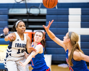 Whitney Rupp for Shaw Media Vanessa Morris of Cary-Grove tries for a pass while being guarded by Payton Schmidt of Dundee-Crown Saturday, Jan. 20 at Cary-Grove High School.