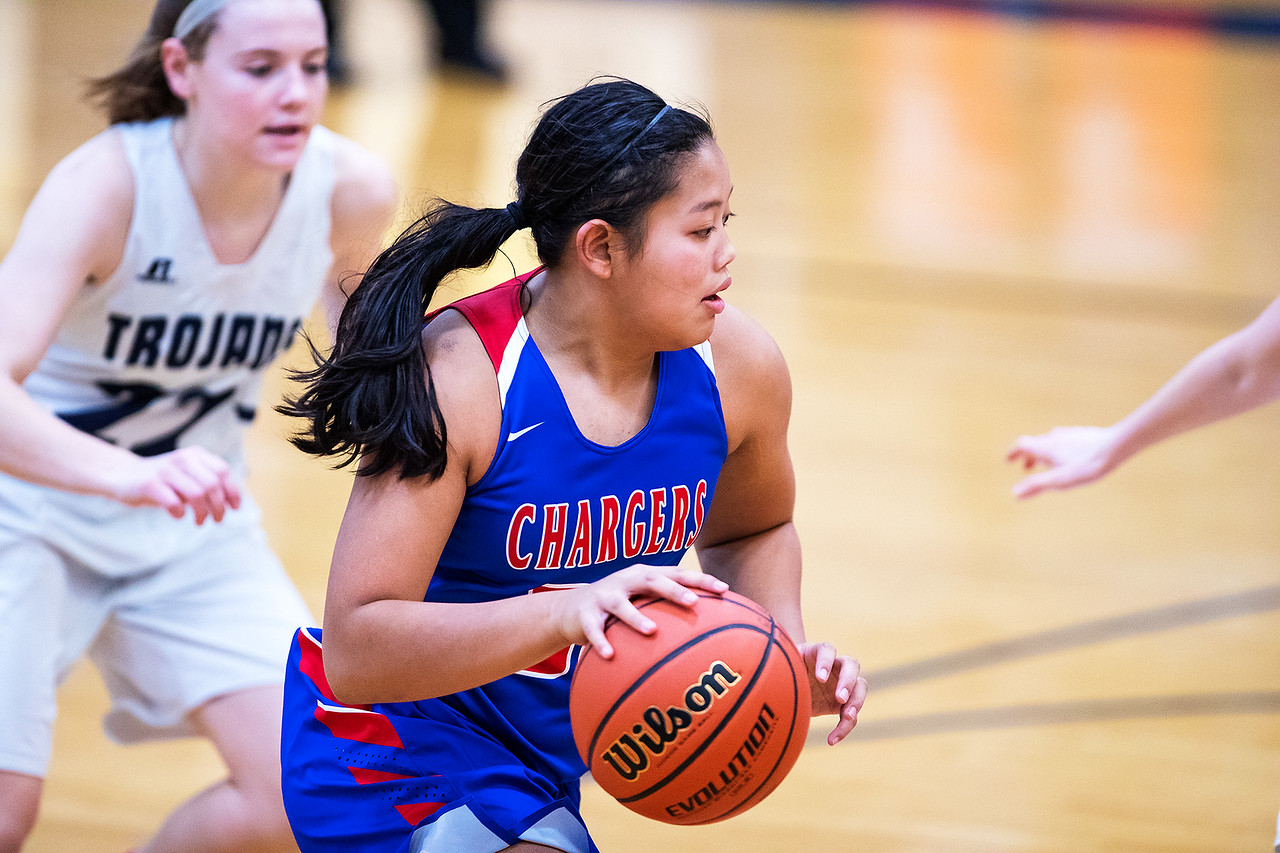 Whitney Rupp for Shaw Media Gianine Boado of Dundee-Crown controls the ball against Cary-Grove Saturday, Jan. 20. Cary-Grove won 41-38.