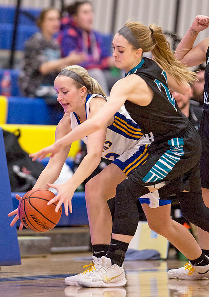 Heather Arden (22) from Johnsburg and Kaitlyn Ford (21) from Woodstock North battle for a ball during the first quarter of their game at Johnsburg High School on Monday January 22, 2018 in Johnsburg, Illinois. John Konstantaras photo for Shaw Media