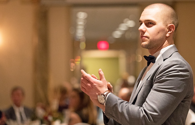 Whitney Rupp for Shaw Media David Lammers of Edward Jones Investments of McHenry applauds a speaker during the annual McHenry Area Chamber of Commerce Dinner Dance Jan. 27.