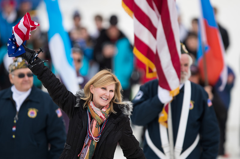 Whitney Rupp for Shaw Media Maureen Bickner waves to the crowd at the opening of competition during the International Winter Tournament Sunday, Jan. 28. Bickner's son, Kevin, will represent the United States in the upcoming 2018 Winter Olympics in South Korea.