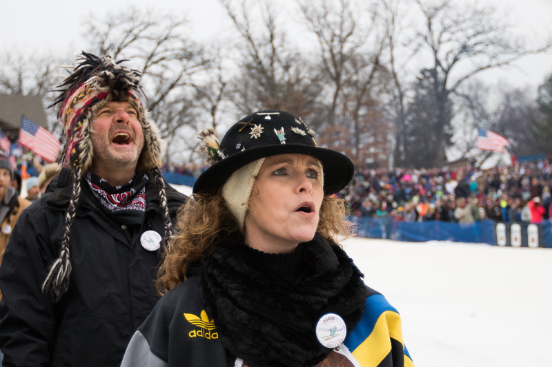 Whitney Rupp for Shaw Media Don, left, and Kim Raciborski cheer for a ski jumper competing in the International Winter Tournament at Norge Ski Club in Fox River Grove Sunday, Jan. 28. Kim Raciborski has attended the event annually for around 40 years.