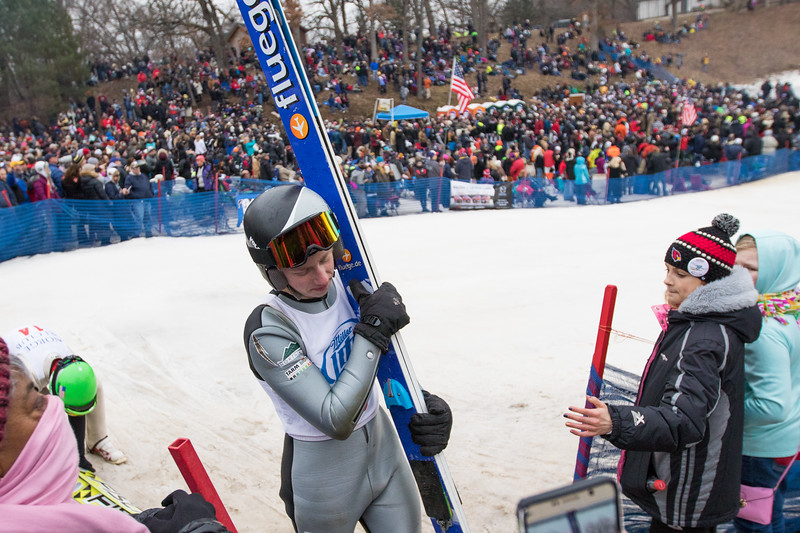 Whitney Rupp for Shaw Media Landon Lee walks off of the landing hill after finishing a jump at the 113th International Winter Tournament hosted by the Norge Ski Club in Fox River Grove Sunday, Jan. 28.