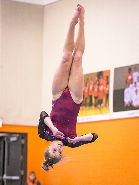 Prairie Ridge's Clancy Raupp tumbles during her floor routine during their gymnastics regional competition at Hersey High School on Monday, January 29, 2018 in Arlington Heights, Illinois. John Konstantaras photo for Shaw Media