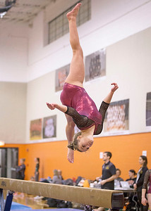 Prairie Ridge's Clancy Raupp flips on the beam during their gymnastics regional competition at Hersey High School on Monday, January 29, 2018 in Arlington Heights, Illinois. John Konstantaras photo for Shaw Media