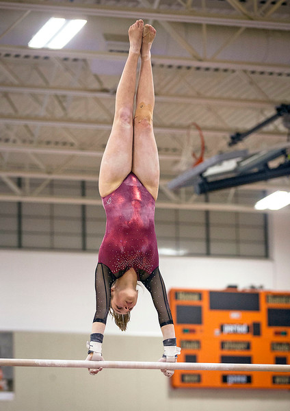 Prairie Ridge's Ciara Ryan competes on the uneven bars during their gymnastics regional competition at Hersey High School on Monday, January 29, 2018 in Arlington Heights, Illinois. John Konstantaras photo for Shaw Media