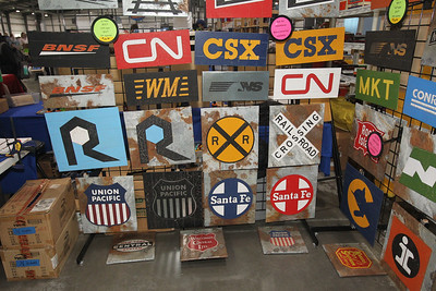 Candace H. Johnson-For Shaw Media Decorative signs featuring different railroads made by the Choo Choo Track & Toy Co. were for sale during the Great Train Show at the Lake County Fairgrounds in Grayslake. (12/30/18)