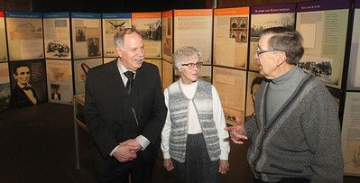 "Candace H. Johnson-For Shaw Media Doug Stiles talks with Marilynn and Dennis Moisio, all of Waukegan after Stiles gave a presentation called, ""Lincoln's Watch,"" to highlight the free pop-up exhibit of President Abraham Lincoln on display at the Jack Benny Center for the Arts Theatre in Waukegan. Stiles talked about the discovery of finding out his great, great grandfather, Jonathan Dillon, a jeweler, had a connection to President Abraham Lincoln's pocket watch. The exhibit will be on display until January 19th. (1/6/19)"