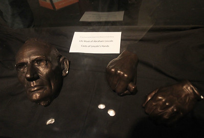 Candace H. Johnson-For Shaw Media President Abraham Lincoln's life mask and a cast of his hands are on display at the free pop-up exhibit of President Abraham Lincoln on display at the Jack Benny Center for the Arts Theatre in Waukegan. The exhibit will be on display until January 19th. (1/6/19)