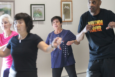Candace H. Johnson-For Shaw Media Linda Petty, (center) of Wauconda keeps moving during Zumba for Families at the Wauconda Area Library. The program runs January through February every Saturday from 9:30-10:30 am. (1/5/19)