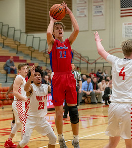 Dundee Crown's Joshua Raby goes up for the shot against Huntley Tuesday, January 15, 2019 in Huntley. Dundee-Crown gets the win 53-50. KKoontz- For Shaw Media