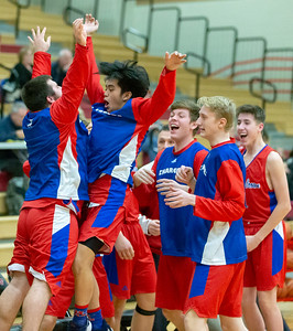 Dundee-Crown players celebrate a three-point shot Tuesday, January 15, 2019 in Huntley. Dundee-Crown was able to hold on at the end to get the 53-50 win. KKoontz – For Shaw Media