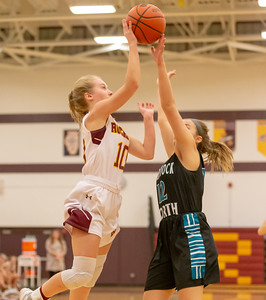 Richmond-Burton's Kasey Miller has her shot blocked by Woodstock North's Colette Jones Thursday, January 17, 2019 in Richmond. Miller went on to finish with 17 points including four 3-pointers as Richmond took the conference win 53-41. KKoontz – For Shaw Media