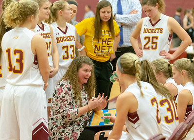 Richmond-Burton head basketball coach Stephanie Oslovich talks to her team during a timeout against Woodstock North Thursday, January 17, 2019 in Richmond. Richmond went on to get the conference victory 53-41. KKoontz – For Shaw Media