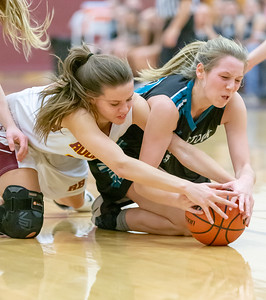 Richmond-Burton's Katelyn Otto and Woodstock North's Katelynn Ward battle for possession Thursday, January 17, 2019 in Richmond. Richmond went on to get the conference victory 53-41. KKoontz – For Shaw Media