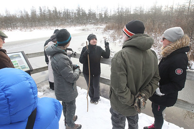 Candace H. Johnson-For Shaw Media Volunteer Julia Denne, of Arlington Heights, (center) leads a tour on a floating walkway through the Volo Bog during WinterFest at the Volo Bog State Natural Area on Brandenburg Road in Ingleside. (1/13/19)