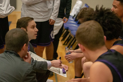 Hampshire's boys head basketball coach, Ben Whitehouse, talks to his team during a timeout against Johnsburg Monday, January 21, 2019 at the Martin Luther King Tournament held at Burlington Central High School in Hampshire. Hampshire gets the win in overtime 68-66. KKoontz – For Shaw Media