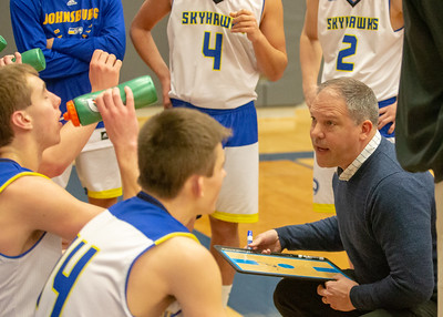 Johnsburg's boys head basketball coach Mike Toussaint talks to his team during a timeout against Hampshire Monday, January 21, 2019 at the Martin Luther King Tournament held at Burlington Central High School in Hampshire. Johnsburg played tough but Hampshire gets the win in overtime 68-66. KKoontz – For Shaw Media