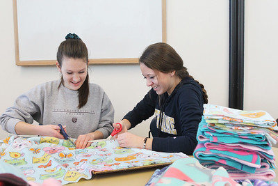 Candace H. Johnson-For Shaw Media Volunteers Ainsley Dean, of Grayslake and Maddie Kosobucki, of Libertyville, both 16, make blankets for kittens at Save-A-Pet during Kindness Crafts-MLK Day ON, Not a Day Off at the Grayslake Area Public Library. (1/21/19)