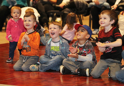 Candace H. Johnson-For Shaw Media Emersyn Gaidar, 1, of Hainesville, her brother, Dane, 3, Richard Edwards, of Bartlett, Eden Martinez, of Round Lake Park and M.J. Arenas, of Round Lake, all 4, watch The Great Scott - Chicago's Magician (Scott Green) during Family Fun Fridays at the Village of Round Lake Beach Cultural & Civic Center. The next event is on February 15th, the Creventive Puppet Company presents: The Three Little Pigs. (1/18/19)