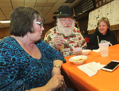 Candace H. Johnson-For Shaw Media Carol and Ken Ward, of Spring Grove enjoy eating their chili as they sit next to Betty Smith, of Fox Lake during the Fox Lake-Round Lake Rotary Club's 13th Annual Chili Cook-Off at the American Legion Post 703 in Fox Lake. (1/26/19)