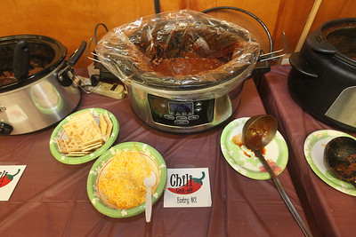 Candace H. Johnson-For Shaw Media Chili Entry #2 sits on a table along with nineteen other entries ready to eat during the Fox Lake-Round Lake Rotary Club's 13th Annual Chili Cook-Off at the American Legion Post 703 in Fox Lake. The chili entries came from local school districts, fire departments and businesses. The proceeds from the event will benefit the Rotary's local charities. (1/26/19)