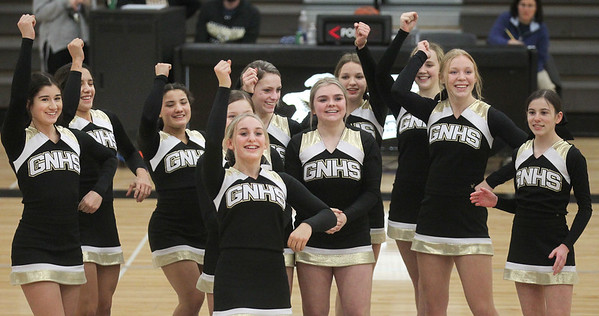 Candace H. Johnson-For Shaw Media Grayslake North cheerleaders entertain the crowd at half-time during the boys varsity basketball game against Lake Forest at Grayslake North High School.  (1/7/19)