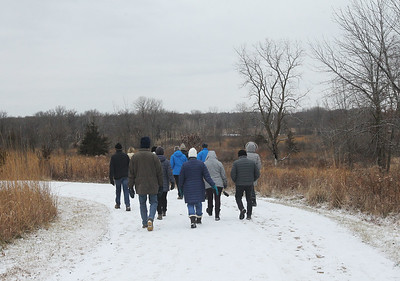Candace H. Johnson-For Shaw Media Nancy Vanden Berge, of Long Grove and Mary Ann Phillips, of Libertyville, volunteer naturalists, take a group of people through Grant Woods on a winter morning during Walk with a Naturalist at Grant Woods on West Monaville Rd. in Ingleside. (1/4/20) The next Walk with a Naturalist will be at the Greenbelt Forest Preserve in North Chicago on Saturday, February 1st, from 9-10:30 am. Everyone will meet at the Greenbelt Cultural Center. The walks are hosted by the Lake County Forest Preserves.